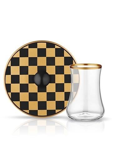 Dervish Çay Set 6'lı Dama Siyah Altın-Koleksiyon